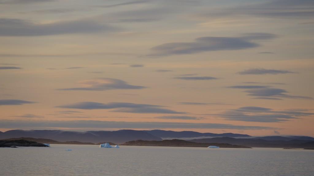 Eisberge in der Morgenröte