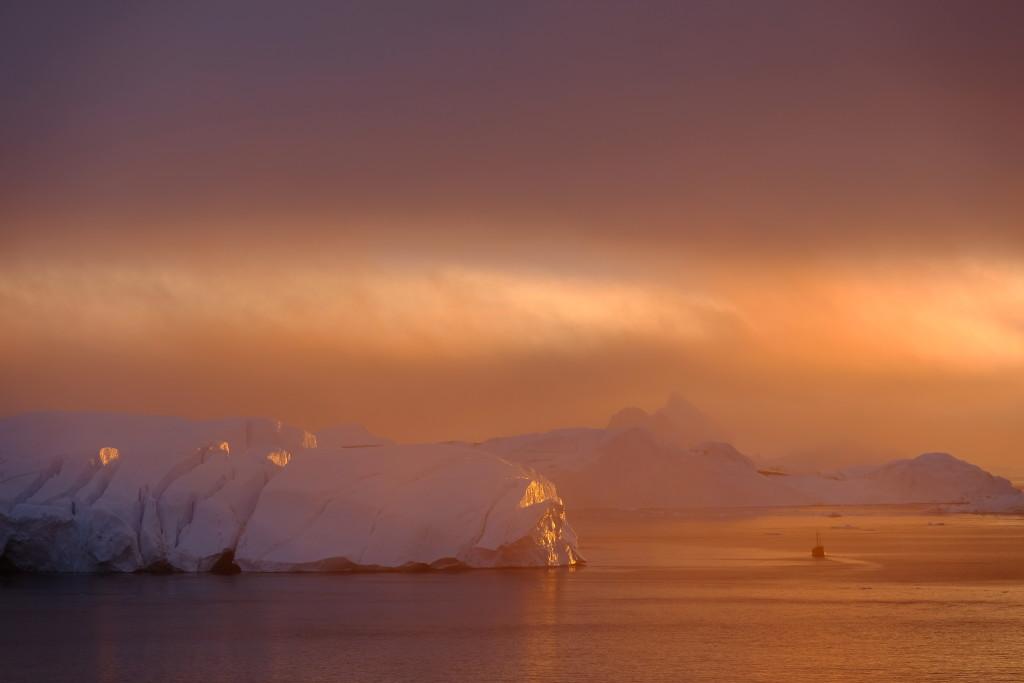 Eisberge in der Abendsonne